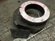 Grinding wheel. After broken from accident Stock Photo