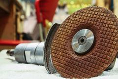 Grinding wheel. Close up to the grinding wheel on a grinding stones  tool Stock Images
