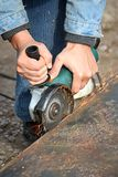 A grinding wheel cuts a metal Royalty Free Stock Photography