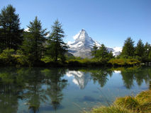 Grindjisee lake and Matterhorn. Into a perfect day of summer in Switzerland Royalty Free Stock Photos