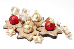 Gringerbread cookies. And christmas tree balls Stock Photo