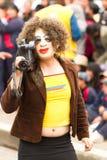 Gringo Tourist. Pillaro, Ecuador - 12 August 2012: Man Disguised As Gringo Tourist Woman With A Camera During The Diablada Of Pillaro Celebration In Pillaro On Royalty Free Stock Photo