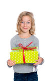 Grining girl with present Stock Images