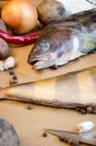 Grinlings-Fischgemüsezitronen-Pfeffernahaufnahme stockbild