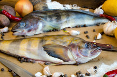 Grinlings-Fischkartoffelzwiebelknoblauch-Zitronenpfeffer lizenzfreie stockfotografie