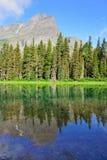 Grinnell冰川足迹的高山湖约瑟芬在冰川国家公园 图库摄影