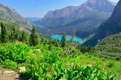 Grinnell Glacier and lake in Glacier National Park Stock Photo