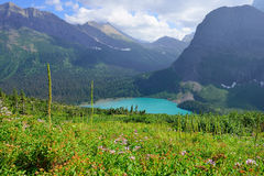 Grinnell Glacier and lake in Glacier National Park Royalty Free Stock Photo