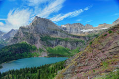 Grinnell Glacier and lake in Glacier National Park Royalty Free Stock Image