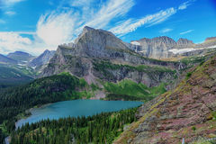 Grinnell Glacier and lake in Glacier National Park Stock Images