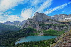 Grinnell Glacier and lake in Glacier National Park Stock Image