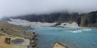 Grinnell Glacier and Mt Gould Covered with Blanket of Clouds Royalty Free Stock Photos