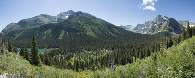 Grinnell Glacier Trail Panoramic. Panoramic view from the Grinnell Glacier Trail in Glacier National Park, Montana, United States Stock Images