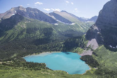 Grinnell Lake - Glacier National Park. View from Grinnell Glacier Trail showing Grinnell Lake in Glacier National Park, Montana, United States Stock Image