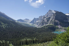 Grinnell Lake - Glacier National Park. View from Grinnell Glacier Trail showing Grinnell Lake in Glacier National Park, Montana, United States royalty free stock image
