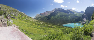 Grinnell Lake Panoramic - Glacier National Park. Panoramic View of Grinnell Lake in Glacier National Park, Montana, United States Royalty Free Stock Photography