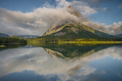 Grinnell Peak Reflection at Glacier National Park Stock Photography