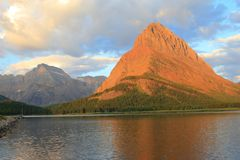 Grinnell Point Swiftcurrent Lake Sunrise stock images
