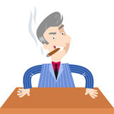 Grinning boss cartoon character sitting at desk. Grinning and unpleasant looking gray-haired boss businessman cartoon character sitting at a desk smoking a cigar Royalty Free Stock Image