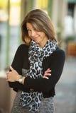 Grinning Business Woman Outdoors Stock Photos