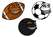 Grinning cartoon soccer, football and bowling ball Royalty Free Stock Photography