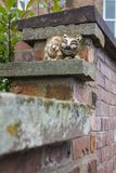 Grinning Cheshire Cat in Chester. Chester, UK - August 2nd 2018: A grinning Cheshire Cat sculpture on the city walls in the historic city of Chester, UK stock image