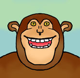 Grinning Chimpanzee. Quirky, drawing of grinning chimp Royalty Free Stock Photography
