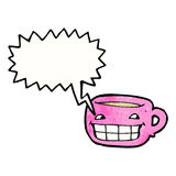 Grinning coffee mug cartoon Stock Images