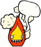 Grinning Fire Cartoon Character. Hand drawn  cartoon of a grinning fire cartoon character Royalty Free Stock Images