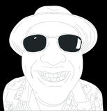 Grinning Fool. Illustration of a man in a hawaiin shirt wearing glasses Royalty Free Illustration