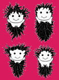 Grinning hairy guy face portrait  illustration. Set of grinning hairy guy face portrait  illustration Royalty Free Stock Photos