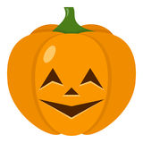 Grinning Halloween Pumpkin Flat Icon. Smiling Halloween pumpkin flat icon, isolated on white background. Eps file available Stock Image