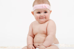 Grinning infant baby. The first year of the new life Stock Photos