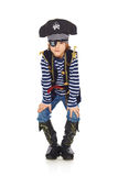 Grinning little boy pirate. Full length grinning little boy wearing pirate costume, over white background Royalty Free Stock Image
