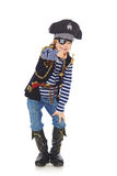 Grinning little boy pirate. Full length grinning little boy wearing pirate costume pointing at camera, over white background Royalty Free Stock Images
