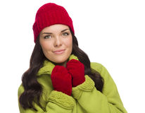 Grinning Mixed Race Woman Wearing Winter Hat and Gloves Royalty Free Stock Photos