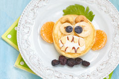 Grinning monkey funny Halloween pancake Royalty Free Stock Images