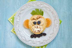 Grinning monkey funny Halloween pancake Royalty Free Stock Photo