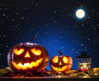 Grinning pumpkin lantern or jack-o`-lantern is one of the symbol Royalty Free Stock Images