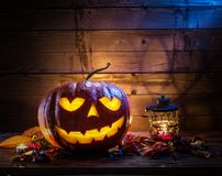 Grinning pumpkin lantern or jack-o`-lantern is one of the symbol Royalty Free Stock Photography
