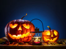 Grinning pumpkin lantern or jack-o`-lantern. Royalty Free Stock Photo