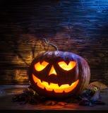 Grinning pumpkin lantern or jack-o`-lantern. Stock Photography