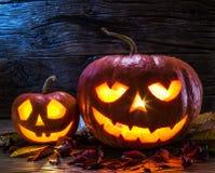 Grinning pumpkin lantern or jack-o`-lantern. Royalty Free Stock Images