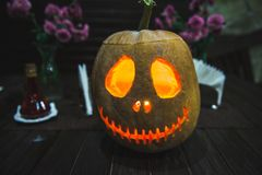 Grinning pumpkin lantern or jack-o`- is one of the symbols Halloween. royalty free stock image