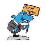 Grinning shark businessman royalty free illustration
