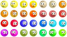 Grinning and smiling colored balls faces Royalty Free Stock Images