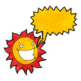 Grinning sun cartoon character Stock Images
