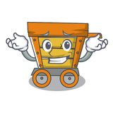 Grinning wooden trolley character cartoon. Vector illustration stock illustration