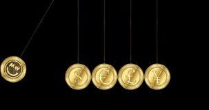 GRINSEN-GRINSEN-Münze und bedeutende Weltwährungen in Form Newton-Wiege stock video footage