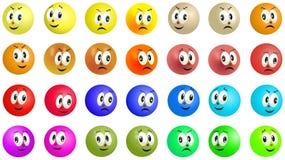 Grinsende und lächelnde farbige Ballgesichter Lizenzfreie Abbildung